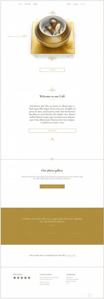 金色调极简咖啡馆网页设计
