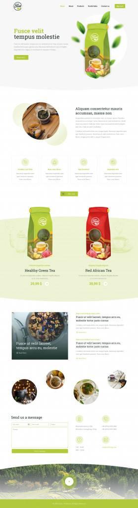 绿色风格茶品网页设计