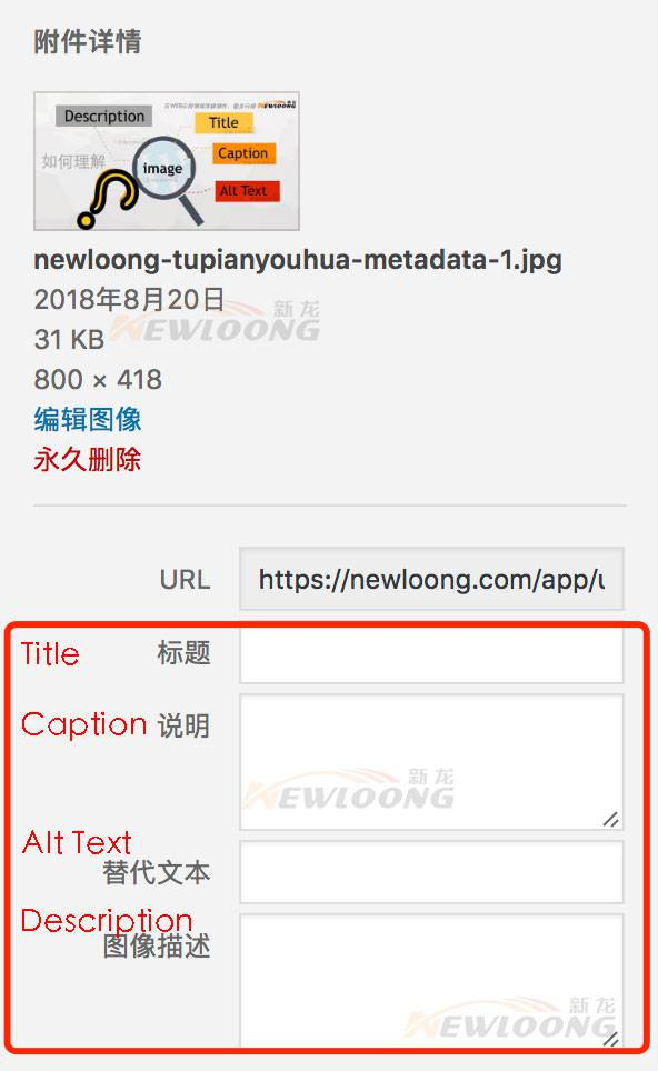 WordPress:图片的Title, Alt, Caption及Description?